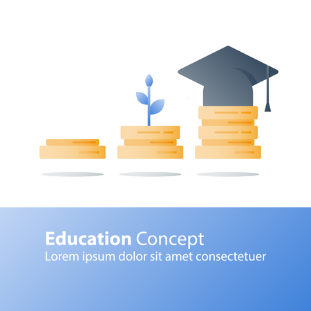 Illustration pour Knowledge growth, education concept, exam preparation, plant stem, books stack, vector icon, flat illustration - image libre de droit