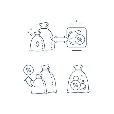 Illustration pour Investment strategy, income growth, fund management, long term investing, loan concept, pension savings, superannuation vector illustration, line icon - image libre de droit