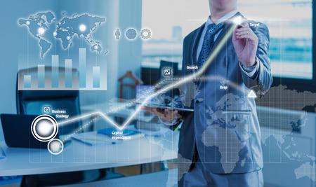 Photo pour businessman working on bar chart business strategy concept - image libre de droit