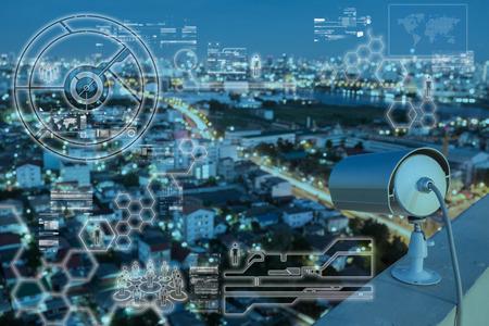 Foto de CCTV Camera technology on screen display - Imagen libre de derechos