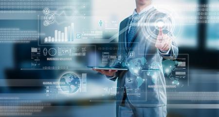 Foto de businessman working on 3D bar chart business strategy concept - Imagen libre de derechos
