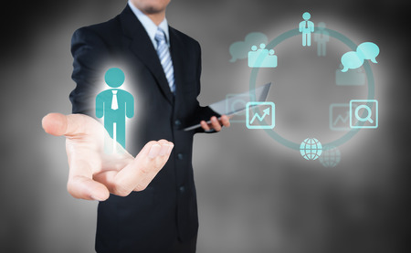 Photo pour Businessman making decision on human resource recruitment - image libre de droit