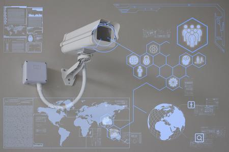 Foto de CCTV Camera or surveillance technology on screen display - Imagen libre de derechos