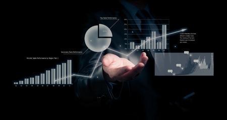 Foto de Businessman holding graph, business concept - Imagen libre de derechos