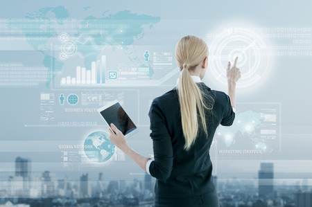 Foto de Businesswoman working on digital virtual screen, business strategy concept - Imagen libre de derechos