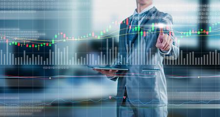 Foto de businessman drawing chart, stock marketing concept - Imagen libre de derechos