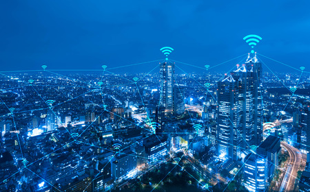 Photo pour Cityscape with wi-fi connection conceptual,information communication technology concept - image libre de droit