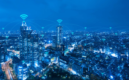 Photo pour Cityscape with wifi connection conceptual,information communication technology concept - image libre de droit