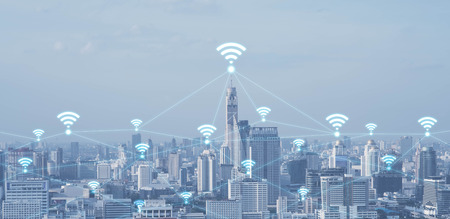 Photo pour Blue high-tech tone of cityscape conneted line with wifi sign, technology concept, internet of things conceptual - image libre de droit