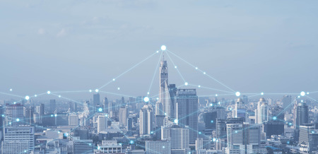 Foto de Blue high-tech tone of cityscape conneted line, technology concept, internet of things conceptual - Imagen libre de derechos