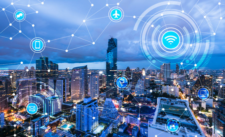 Photo pour Cityscape connected line, technology concept, internet of things conceptual - image libre de droit