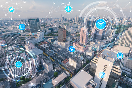 Photo pour smart city and wireless communication network, IoT(Internet of Things), era of internet, internet of every things, internet in every day lifes - image libre de droit
