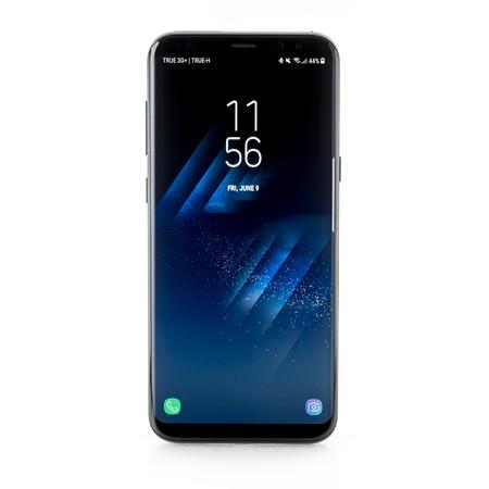 Foto de BANGKOK, THAILAND-June 9th 2017: Samsung Galaxy S8+, S8 Plus on white background, show default lock screen - Imagen libre de derechos