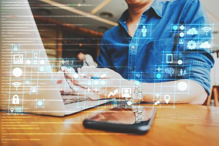 Foto de businessman working on digital diagram for program improvement, software developer work on digital improvement concept - Imagen libre de derechos
