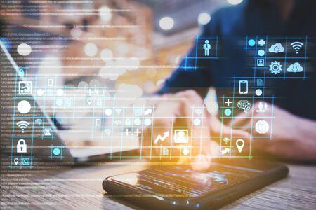 Photo pour businessman working on digital diagram for program improvement, software developer work on digital improvement concept - image libre de droit