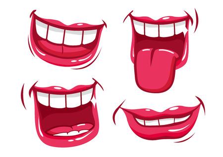 Illustration pour Smiling lips vector set - image libre de droit