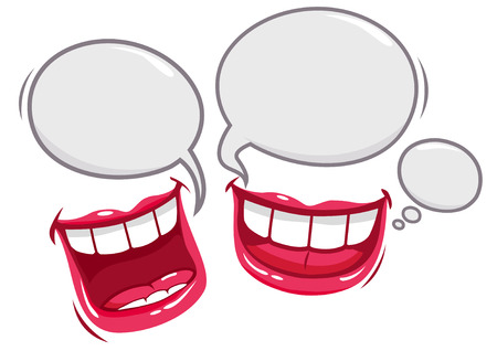 Illustration pour Two mouths talking and laughing - image libre de droit