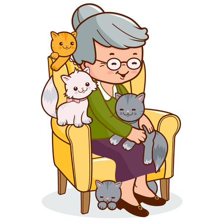 Foto de Old woman sitting in armchair with cats. - Imagen libre de derechos