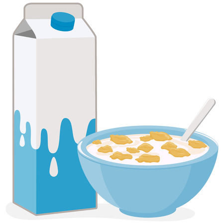 Illustration pour Vector illustration of a bowl of corn flakes cereal and a carton of milk. - image libre de droit