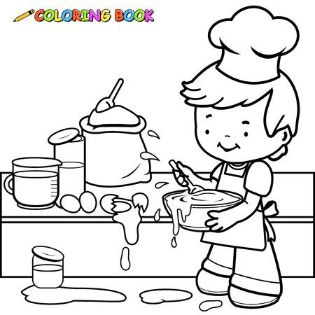 Illustration pour Little boy cooking and making a mess coloring book page. - image libre de droit