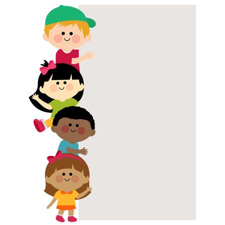 Illustration pour Multi ethnic group of kids holding vertical blank banner - image libre de droit