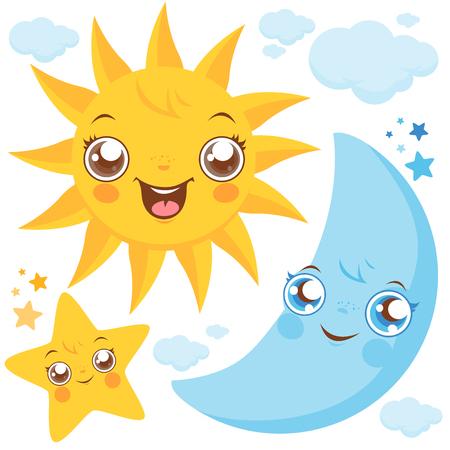 Ilustración de Sun moon and stars - Imagen libre de derechos
