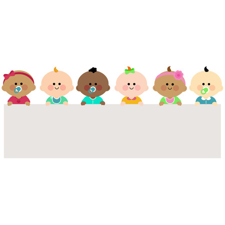 Photo for Babies holding horizontal blank banner - Royalty Free Image