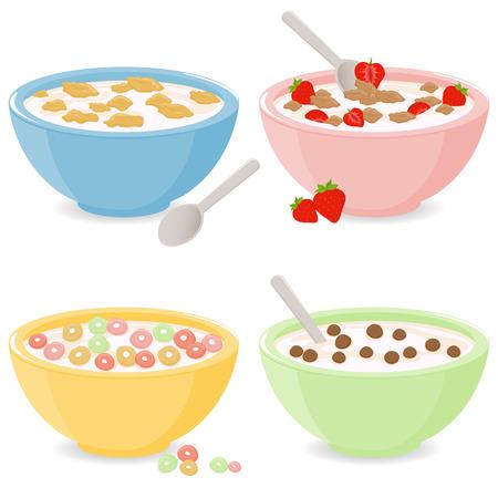 Illustration pour Bowls of breakfast cereal - image libre de droit