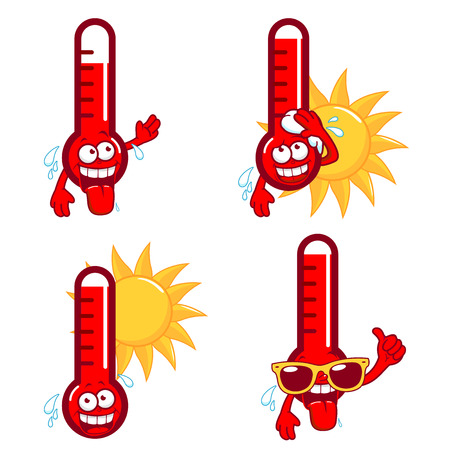 Illustration pour Cartoon thermometers indicating very hot temperature. - image libre de droit