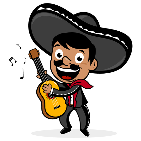 Illustration for Mexican mariachi man playing the guitar. - Royalty Free Image