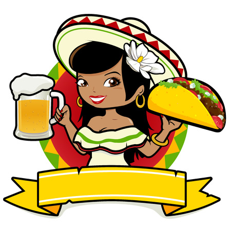 Illustration for Mexican woman holding a cold beer and a taco - Royalty Free Image