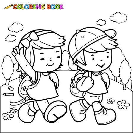 Ilustración de Children walk to school. Coloring book page - Imagen libre de derechos