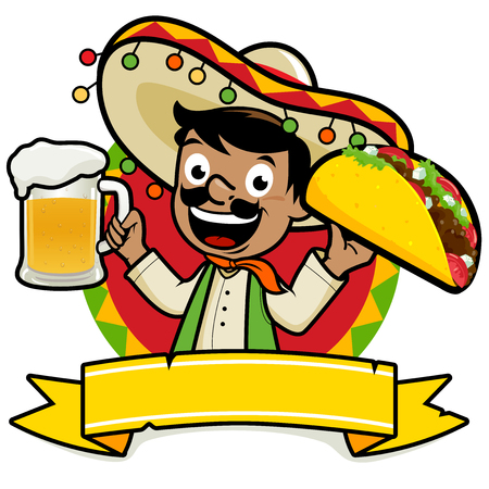 Illustration for Mexican man holding a cold beer and a taco - Royalty Free Image
