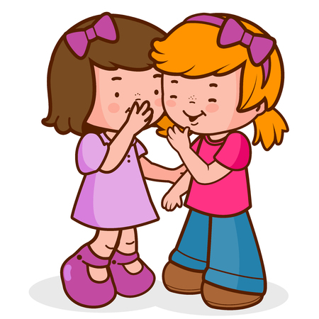 Illustration pour Two little girls share secrets, whispering, talking and laughing. - image libre de droit