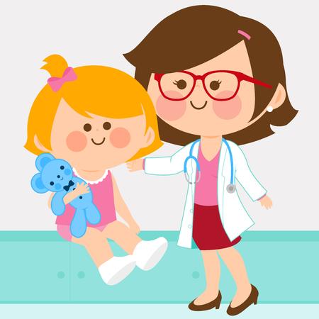 Ilustración de Female pediatrician examining a little girl - Imagen libre de derechos