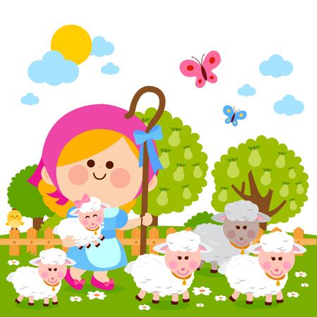 Illustrazione per Little shepherdess girl with sheep. Vector illustration - Immagini Royalty Free