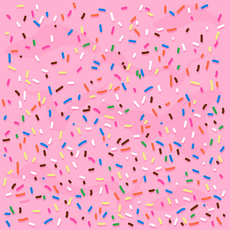 Illustration pour Pink cream frosting with colorful sprinkles. Vector background illustration - image libre de droit