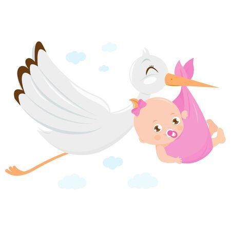 Ilustración de Stork delivering a new baby girl. Vector Illustration - Imagen libre de derechos