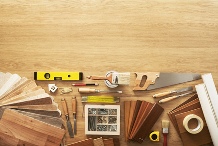 Foto de DIY workbench top view with carpentry and construction tools, copy space at top - Imagen libre de derechos