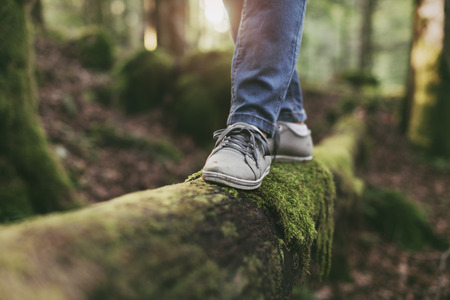 Photo for Woman walking on a log in the forest and balancing: physical exercise, healthy lifestyle and harmony concept - Royalty Free Image