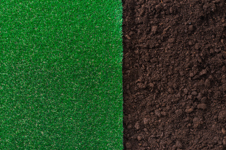 Photo pour Fertile humus soil and lush grass background, gardening and landscaping concept - image libre de droit