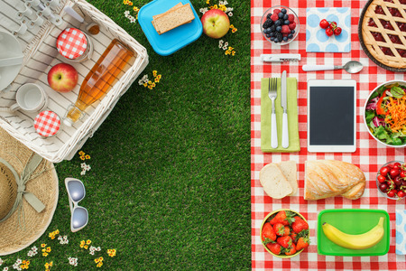 Foto de Picnic at the park on the grass: tablecloth, basket, healthy food and accessories, top view - Imagen libre de derechos