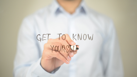 Photo pour Get to Know Yourself , Man writing on transparent screen - image libre de droit
