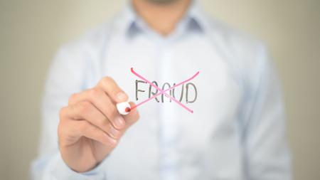 Photo pour No Fraud,  Man writing on transparent screen - image libre de droit