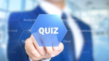Foto de Quiz, Man Working on Holographic Interface, Visual Screen - Imagen libre de derechos