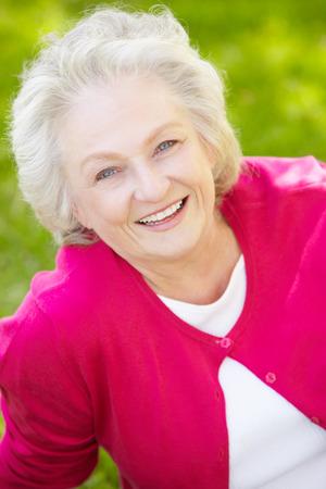 Photo pour Senior woman outdoors - image libre de droit