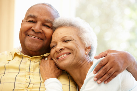 Photo pour Senior African American couple at home - image libre de droit