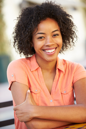 Photo for Portrait Of Smiling African American Woman - Royalty Free Image