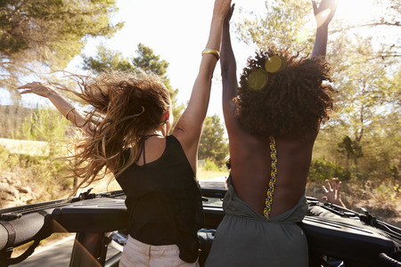 Photo for Two excited women stand in the back of open car, back view - Royalty Free Image