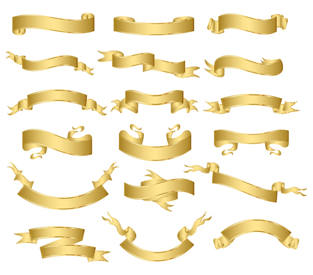 Illustration pour set of gold ribbons.vector - image libre de droit